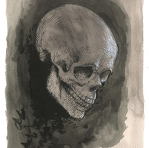 Untitled (Skull), 2020 Acrylic and ink on paper 12 x 9 inches