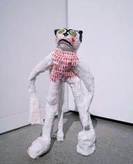 Ashley Lusietto Spellbound Kitty, 2020 Paper plaster, joint compound, caulk, acrylic, flashe, and polyacrylic. 22 x 14 x 11 inches