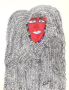 Red face, Big Hair,  2020 Ink, marker on paper 12 x 9 inches