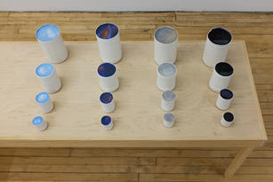 Nirmal Raja Measuring the Sky: Daylight Sunset Grey Skies Daybreak 2019 Cast plaster, gouache, and clear resin (made from archaic, precolonial measuring cups) Set of 4 dimensions variable