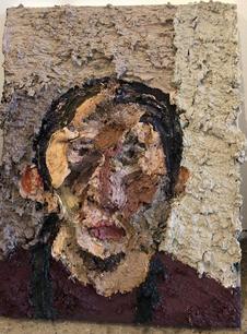 Self Portrait in Studio No. 3 2016-17 Oil on canvas 16 x 12 inches
