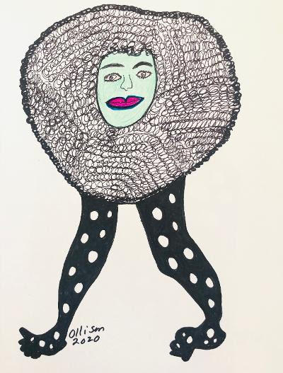 Untitled (walking) Marker, ink, glitter 12 x 9 inches