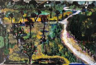 """""""After the Rain 2: Midnight,"""" 2004 Acrylic and Watercolor 5.5 x 9 inches"""