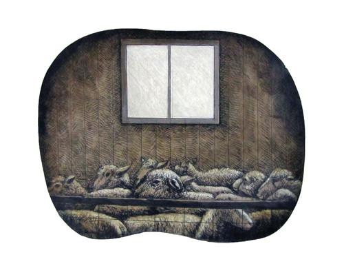 Sheep below a window