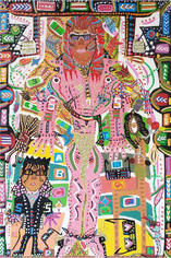 Romano Johnson Voice Microphone Black Glove Star Janet Girl, 2018 Glitter and acrylic paint on canvas 72 x 48 inches