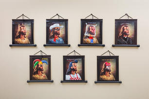 """Norbert Kox Seven works from the Series """"Picture Perfect Jesus: The Glamorous Fraud"""" 2016 Oil on printed canvas 7 canvas scrolls, 22 x 19 inches each."""