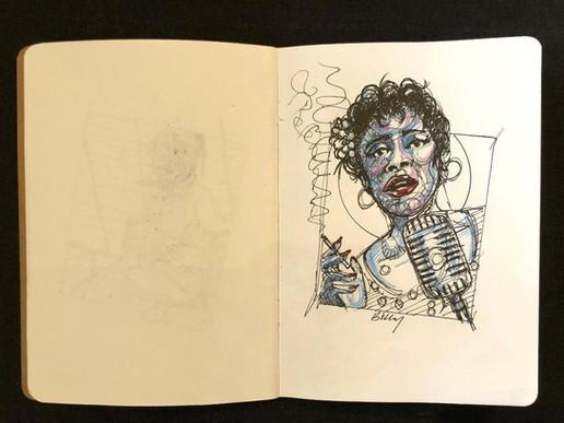 """Mutope Johnson, """"Ella,"""" sketchbook page"""