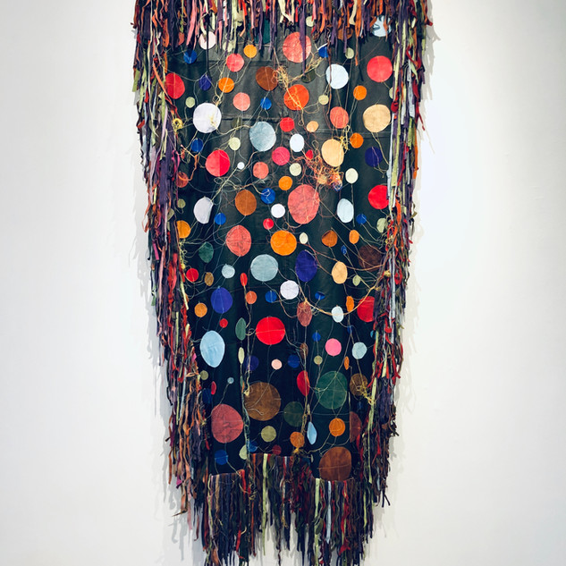 Rosemary Ollison Circle quilt, 2019 Repurposed leather, stitching 75 x 38 inches