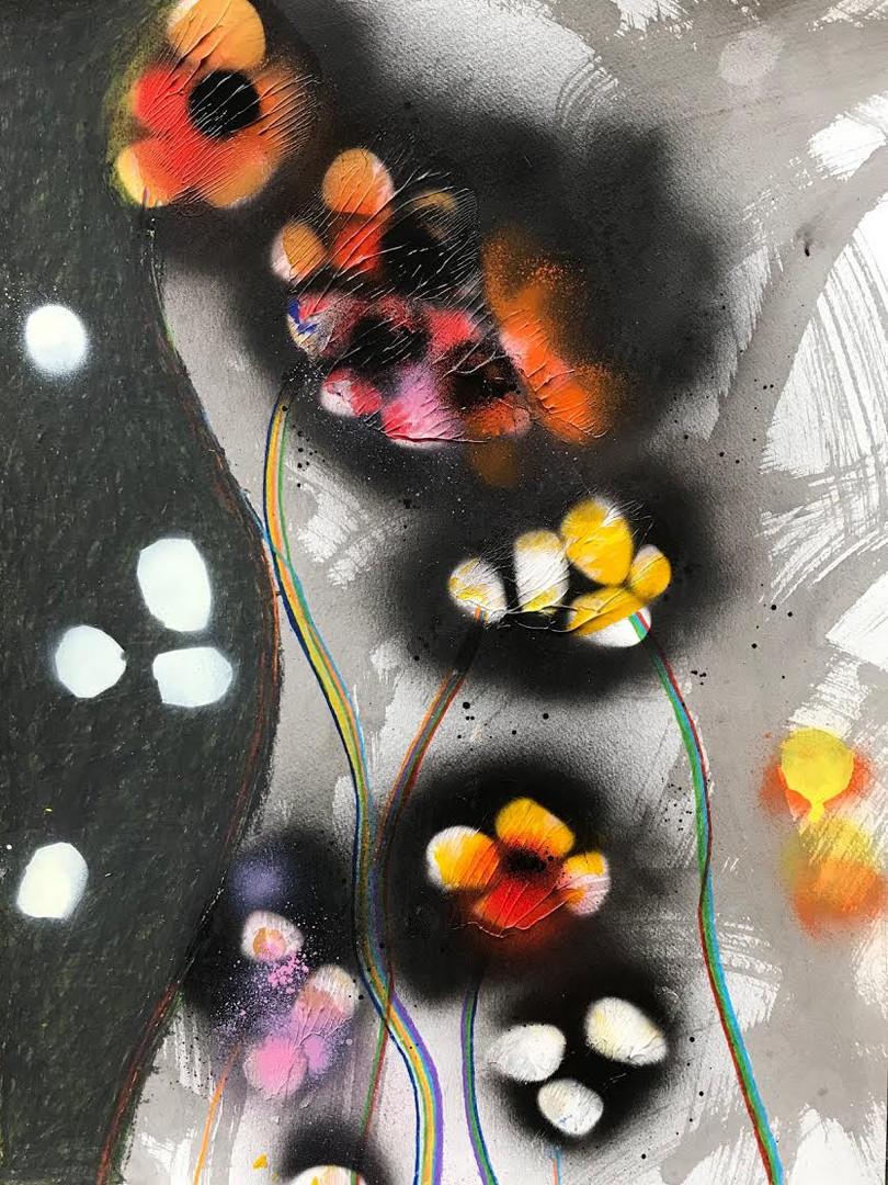 "Primavera 2018 Ink, acrylic, colored pencil, spray paint on paper 20"" x 15"""