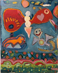 Skully Gustafson Ice Cream Butterfly, 2021 Acrylic and oil on canvas 20 x 16 inches