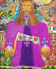 Romano Johnson Church Man Glitter and acrylic paint on canvas 60 x 48 inches