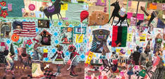 Miss Anne, It Does Not Matter If You Sit there and Show Us Your Bleeding Heart — In America We Still Too Bad and Too Black! 2018 Collage with found objects 50 x 26.5 inches