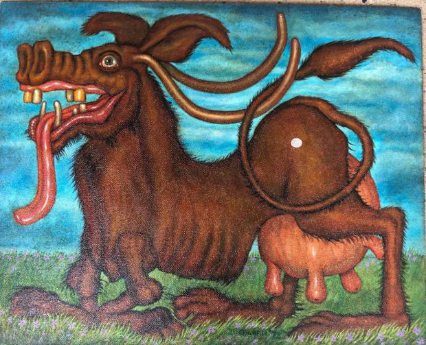 Canine Cow 1973 Oil on masonite
