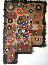 Leather face textile, 2019 Repurposed leather 50 x 38 inches