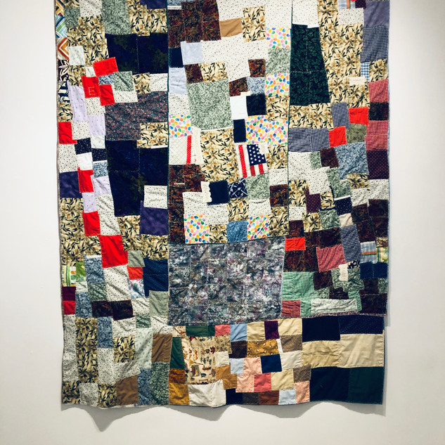 Ella Mae Brooks, 2019 Patchwork quilt (Flags, jellly beans, flowers) 84 x 62 inches