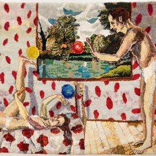 Shari Urquhart Bouncing Balls, 1979 Wool and Acrylic fibers with metallic thread 72 x 80 inches