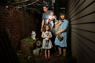 "Todd, Lucca, Scout, and Katie Whitefish Bay, 2015. From: ""Neighborhood"""