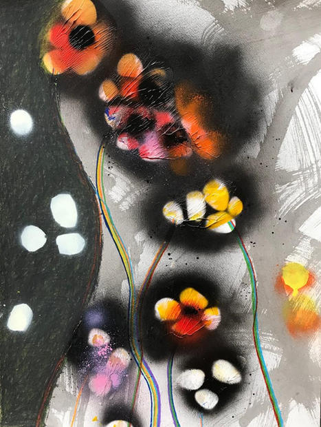 Primavera, 2018 Ink, colored pencil, spray paint, acrylic on paper 20 x 16 inches