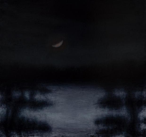 David Niec 20% Moon Set over Winter Stream