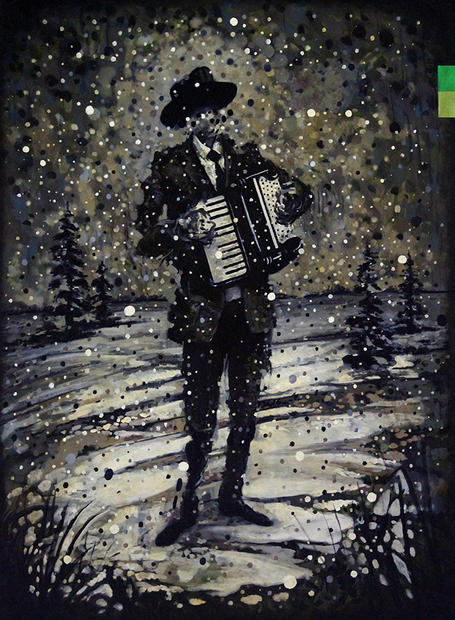 Musician in Winter (accordion) 2019 Oil on canvas 36 x 48 inches (sold)