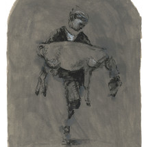 Untitled (Figure with Calf) 2020. Acrylic and ink on paper 12 x 9 inches, unframed (sold)