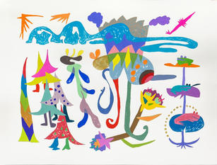 Nature Song, 2020 Gouache and ink on paper 22 x 30 inches
