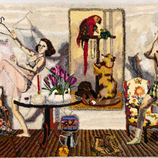 Shari Urquhart Gimme, Take Me, Buy Me, 1987-88 Wool and Acrylic fibers with metallic thread 87 x 132 inches
