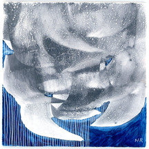 """Looming Storm Part of the series """"From The Earth"""" Egg tempera, graphite and scratching on panel 4 x 4 inches $250 (framed)"""