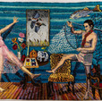 Shari Urquhart Shikari, 1990 Wool and Acrylic fibers with metallic thread 84 x 117 inches