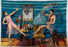 Shari Urquhart Shikari, 1990 Wool, mohair, metallic fiber, acrylic yarn & silk fibers 84 x 117 inches