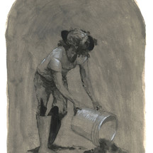 Untitled (Figure with bucket) 2020 Acrylic and ink on paper 12 x 9 inches