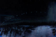 David Niec Winter Moon Rise and Span oil on panel