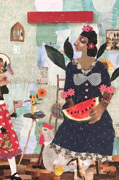 Sitting Here With My Wweet Melon Vibes and Picasso Chicken, 2020 Collage  26.5 x 17 inches (sold)