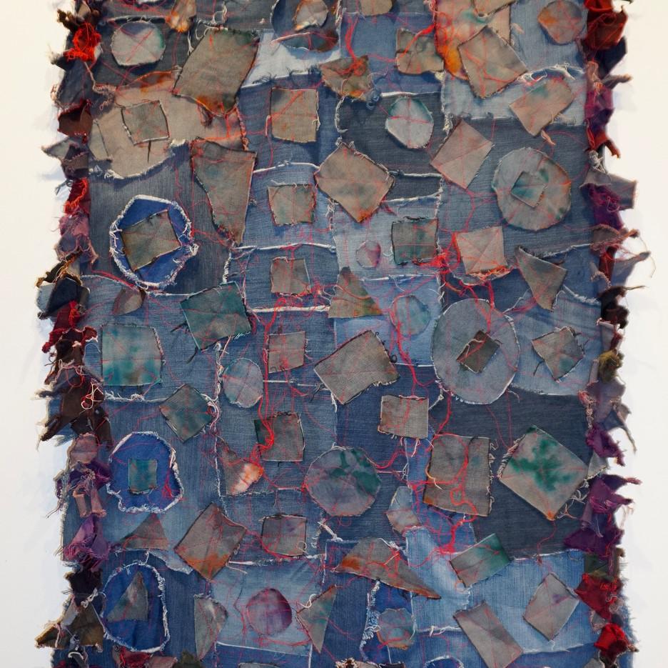 Rosemary Ollison Denim Quilt 2020 Repurposed denim clothing 61 x 35inches