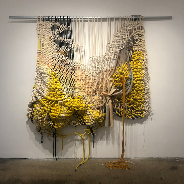 Jacqueline Surdell Melancholy of Always: Sunset in the Rockies (after Albert Bierstadt), 2020 Nylon cord, cotton cord, paracord, printed polyester fabric, hanging hardware 80 x 78 x 12 inches
