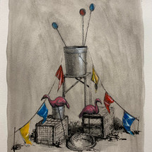 Untitled (assemblage) 2020 Acrylic and ink on paper 12 x 9 inches
