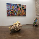 Installation view with Diane Levesque and Bonny Leibowitz (sculpture)