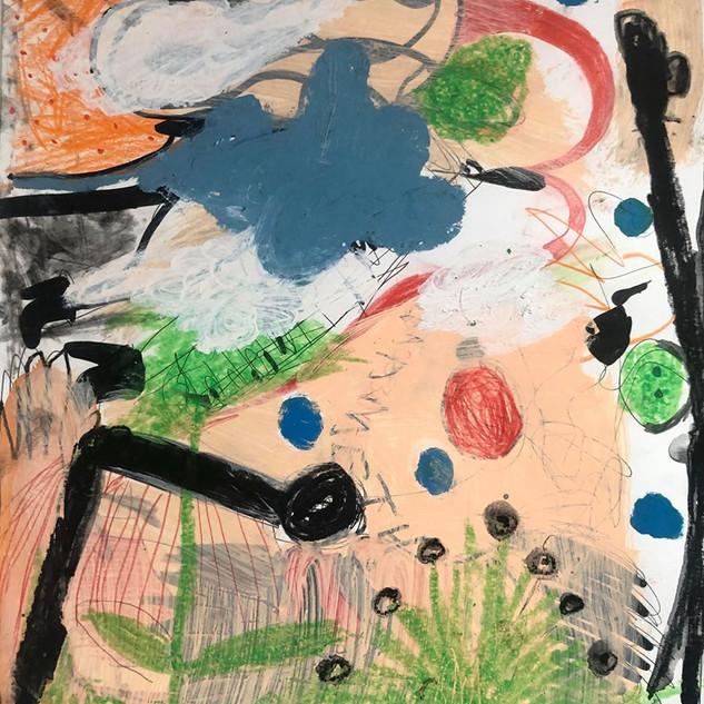 Skully Gustafson Untitled (landscape), 2019 Mixed media on Bristol 17 x 14 in. $400