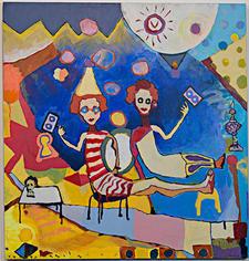 Skully Gustafson The Sunbathers, 2016 Acrylic on canvas 48 x 36 inches