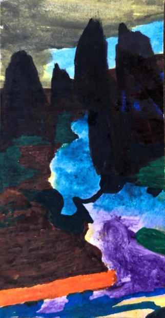 Nights of Light, 2011 Acrylic and watercolor on paper 2.5 x 1 inch