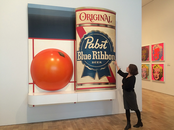 "The author with Tom Wesselmann's ""Still Life #51"" (1964), at the east gallery entrance to the permanent collection"