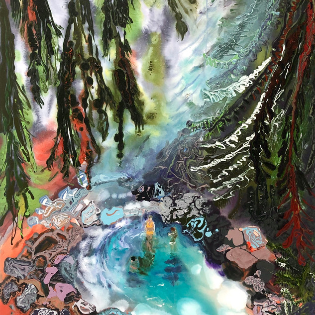 Lizbeth Mitty, Bathers, Hidden Pool, 2020. Acrylic on canvas, 48 x 40 inches.