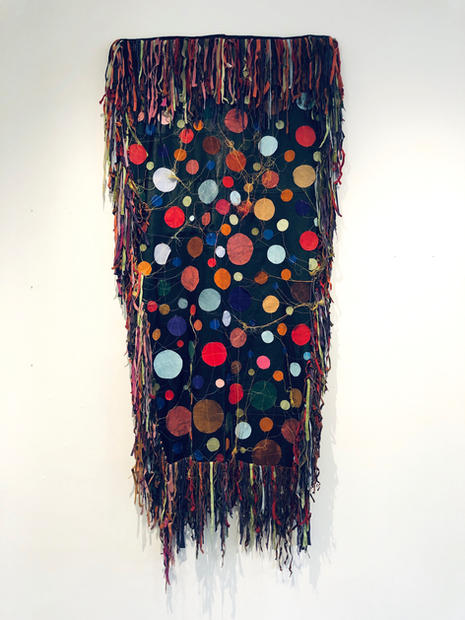 Untitled (narrow circle quilt),  2018 Repurposed leather, stitching