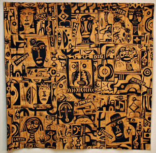 Straight No Chaser Straight No Chaser Discharged dyed cotton 59 x 59 inches