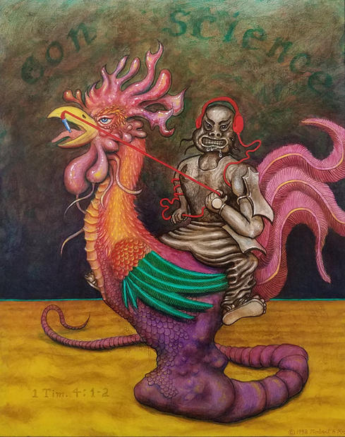 Norbert Kox Con Science: Rooster Rider  1998 Acrylic on panel 20 x 16 in.