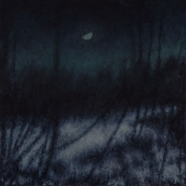 David Niec, 55 Percent Winter Moonset in Swamp, 2020. Oil on panel, oil on panel, 11x10 inches, 2018-20