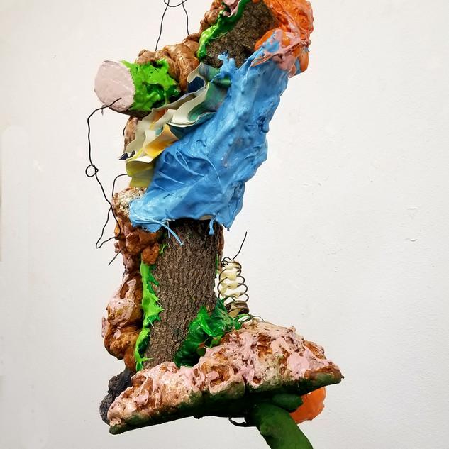 Bonny Leibowitz, Creature, 2020. Branches, foam, vinyl, acrylic, wire, 30 x 20 x 20 inches.