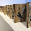 """Marsha McDonald, Swan and Crow 2/3.  Altered and reassembled Chinese sketchbook -double-sided 125"""" x 7"""" (317 x 17.78 cm )"""