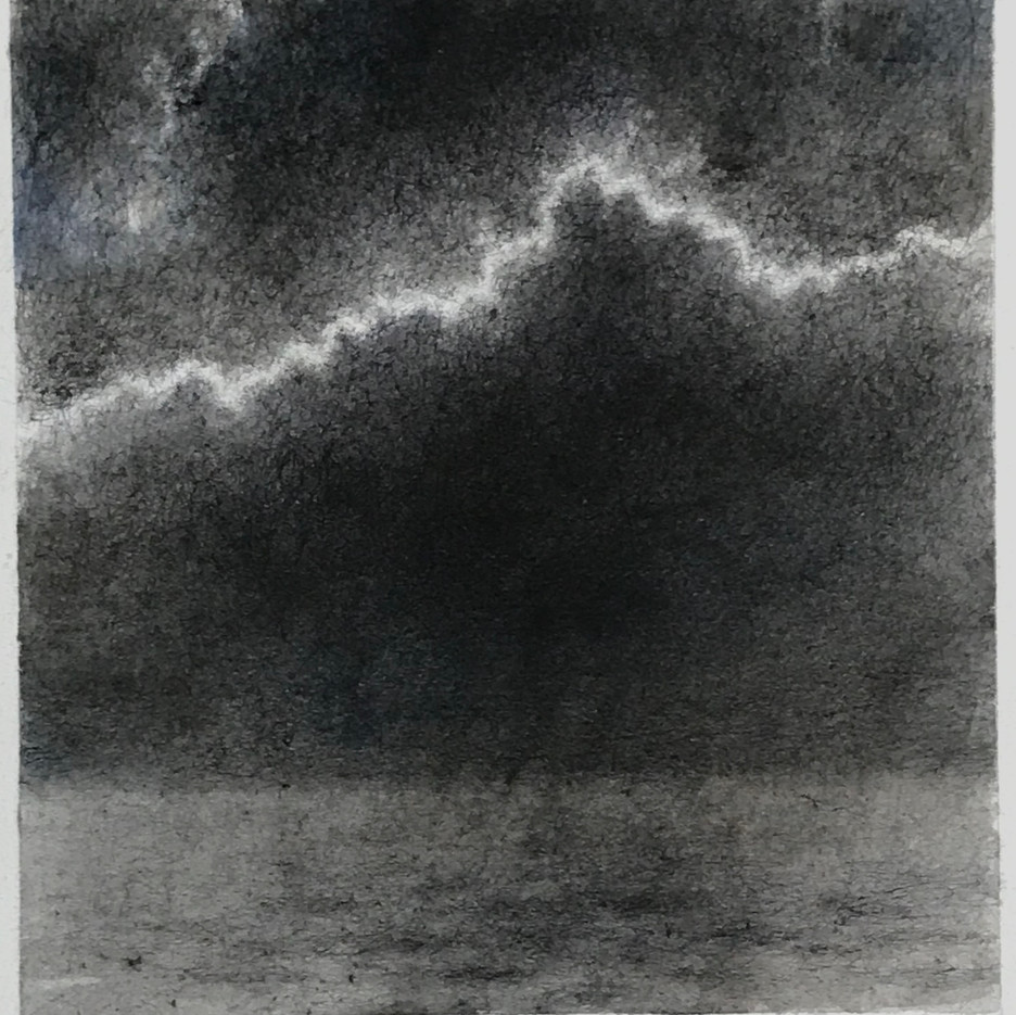 """Lightning over Lake Michigan,"" 2020.  Ink on paper  9 x 8.5 inches  From the night of 8/7/19  $500 (unframed)"