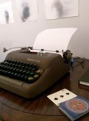 Typewriter in Christopher T Woods Studio, September 2020.